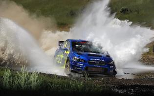 David Higgins and Craig Drew power through a water splash in their WRX STI Open Class rally car.
