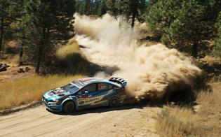 A plume of dust trails Davd Higgins at the Idaho RallyPhoto Credit: Matthew Stryker / Subaru Rally Team USA