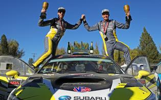 Patrik Sandell and codriver Per Almkvist celebrate victory at the Idaho RallyPhoto Credit: Matthew Stryker / Subaru Rally Team USA