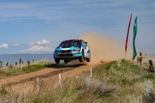 The #75 Subaru gets air at Olympus RallyPhoto credit: Matthew Stryker