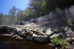 David Higgins negotiates the rough and rocky roads of the New England Forest Rally