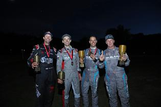 (L to R) Pastrana, Durant, Drew and Higgins celebrate at the New England Forest Rally podium