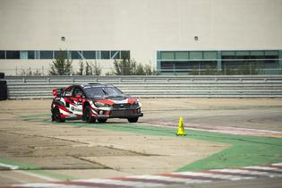 Full-speed track testing for Jacques Villeneuve in preparation for ARX Rallycross at Trois-Rivières, Quebec, Canada.