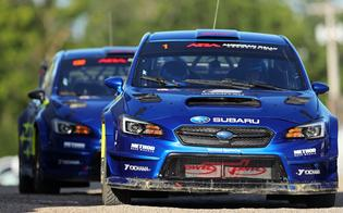 Higgins and Pastrana set the pace early, trading wins in the Thursday super special stages in their WRX STI rally cars.