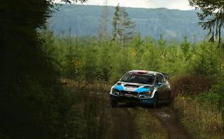 David Higgins uses every bit of the road at the Tour de Forest Rally. Credit:  Matthew Stryker / Subaru Rally Team  USA