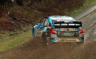 David Higgins getting sideways in his Subaru WRX STI at the 2018 Tour De Forest Rally. Credit: Matthew Stryker / Subaru Rally Team USA