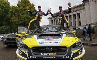 Patrik Sandell and co-driver Per Almkvist celebrate their Tour de Forest Win. Credit:  Matthew Stryker / Subaru Rally Team  USA