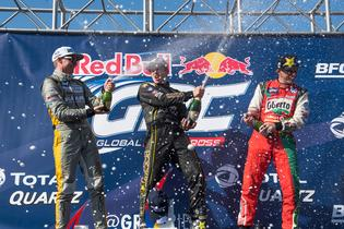 Patrik Sandell celebrates on the podium at GRC.