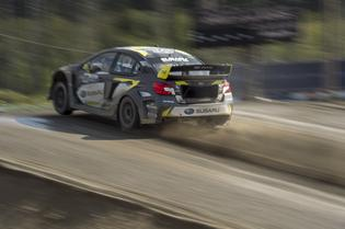 Patrik Sandell launches his Subaru STI at GRC Seattle