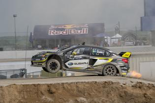Patrik Sandell launches his Subaru STI skyward at GRC Memphis.