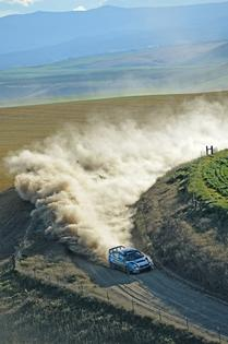 Subaru Driver David Higgins is flat out through a high speed corner of the Oregon Trail Rally.