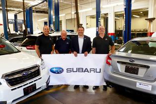 From left to right, MHCC Automotive Technology instructor Eric Garvey; Mitch May, Subaru of America Western Region Educational Manager; Jim Pernas, Subaru of America Western Region – Portland Zone Director; and Steve Michener, MHCC Automotive Technology instructor.