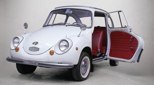 Subaru 360 Production: 1968-1969   Rear wheel drive   2-stroke, air cooled, 356 cc engine   Horsepower 25, Torque: 25.4 lb-ft.   0-50 in 37.5 seconds, 1/4 mile in 28.5 seconds   66.3 mpg