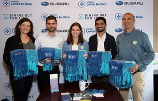 Dining Out For Life® Hosted by Subaru Achieves Record $4.2 Million in Donations. Subaru of America employees donate blankets to Philadelphia-based Action Wellness (left to right) Emma Hamm, Joe Pawlicki, Liz Edelen, Harish Pathak, and Hak Kazandjian.