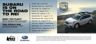 Subaru of America and REI continue partnership with series of events focused on exploring the great outdoors including the Subaru Road Trip series at select REI stores.