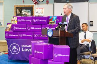 Subaru of America President & COO Thomas J. Doll addresses students and faculty at Octavius V. Catto Community School in Camden, NJ