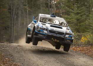 The 2015 Subaru STI rally car takes flight at LSPR