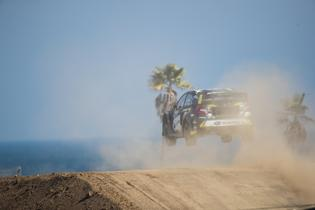 The Subaru STI of Patrik Sandell goes airborne at GRC.