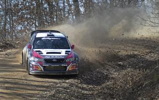 Travis Pastrana and codriver Chrissie Beavis 100 Acre Wood Rally 2014