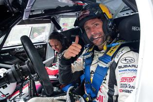 Travis Pastrana with Codriver Chrissie Beavis at the Ojibwe Forest Rally