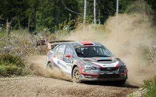 Travis Pastrana and codriver Robbie Durant finished 2nd to teammate Higgins at the Olympus Rally.