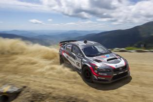 Travis Pastrana ascends the Mt Washington Auto Road in his 600hp Subaru WRX STI. Photo Credit: Matthew Stryker