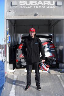 Travis Pastrana prepares to test his 2017 Subaru WRX STI ahead of Rally Perce Neige