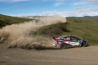 Travis Pastrana slides his Subaru WRX STI at the Oregon Trail Rally.