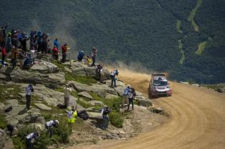 Travis Pastrana slides to victory and a new record time at the Mt Washington Hillclimb. Photo Credit: Ben Haulenbeek / Subaru Rally Team USA