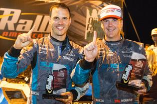 Winners of the 2015 Ojibwe Forest Rally codriver Craig Drew and driver David Higgins
