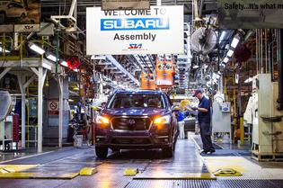 The first 2019 Ascent rolls off the assembly line at Subaru of Indiana Automotive (SIA) in Lafayette, Indiana on May 7, 2018. The three-row SUV, the biggest vehicle in the Subaru line-up, will be available for sale in mid-2018.