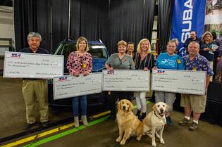 Members of the famous Subaru canine family, The Barkleys, visited SIA to welcome the family vehicle to the Subaru line-up on May 7, 2018. SIA also presented $8,000 in grants to four Indiana nonprofit organizations focused on animal welfare: North Central Indiana Spay & Neuter, Almost Home Humane Society, Loving Heart Animal Shelter and Natalie's Second Chance No-Kill Dog Shelter