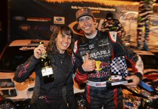 codriver Chrissie Beavis with Travis Pastrana podium finish 100 Acre Wood Rally 2014